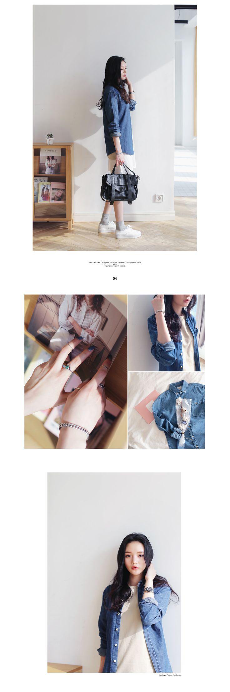 ボタンダウンデニムシャツ・全2色シャツ・ブラウスシャツ|レディースファッション通販 DHOLICディーホリック [ファストファッション 水着 ワンピース]