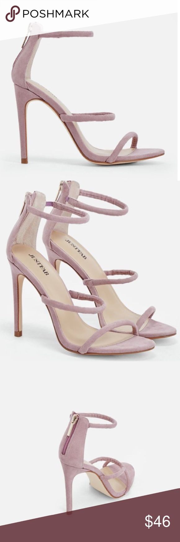 """LILAC STRAPY SANDAL HEELS Make a statement in these 3-strap metallic heels featuring a back zip closure.                                                 Approx. Heel Height: 4.0"""" Synthetic Upper Man Made Sole Imported Public Desire  Shoes Heels"""