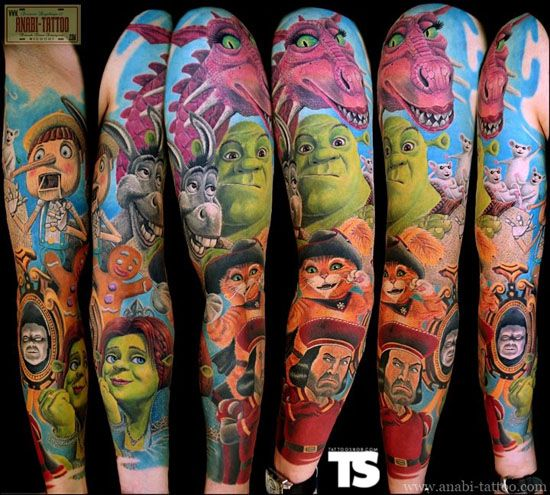 Shrek Tattoo:  This is a photo of a person's arm from several angles. This shows that they have a full-color tattoo of many of the characters from the animated movie, Shrek. It features the following characters: Shrek, Shrek's love interest, the antagonist prince, the donkey sidekick, the gingerbread man, and many others.