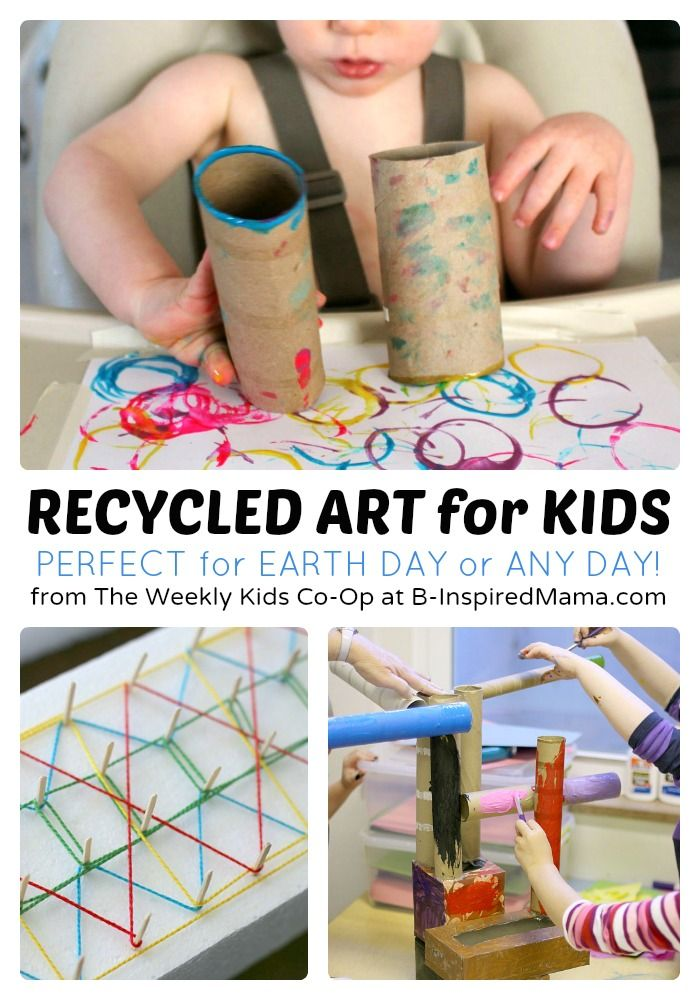 Recycled Art Projects for Kids from The Weekly Kids Co-Op - #kids #kidsart #earthday #kbn #binspiredmama