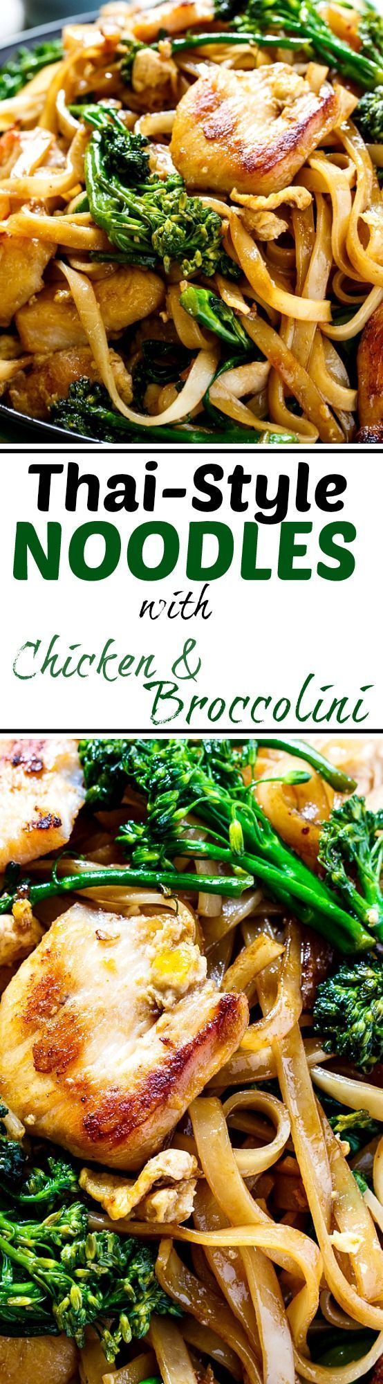 Better than takeout Thai-Style Noodles with chicken and broccolini.