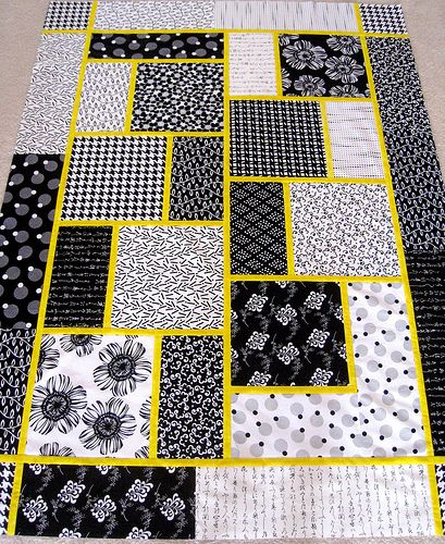 The Big Block Quilt need to make this, could use any accent color with the black and white.