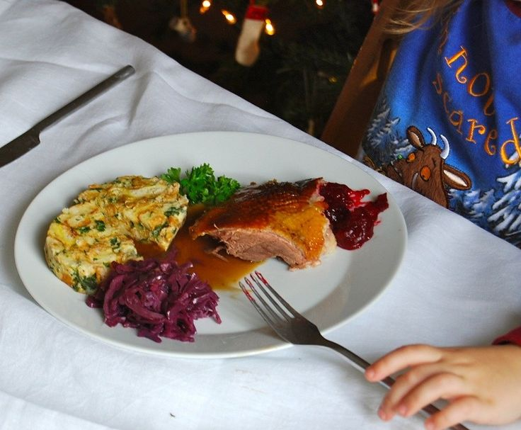 Traditional German Christmas dinner of roast goose
