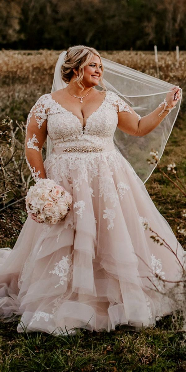 Ribbons Plus Dimensions Wedding Dresses Basketball Outfit With Illusion Sleeves Blush Re Plus Wedding Dresses Plus Size Wedding Gowns Wedding Dress Long Sleeve