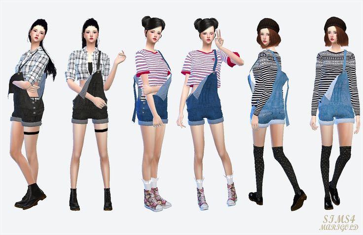 SIMS4 marigold: dungarees_hot pants version_짧은 멜빵바지_여자 의상