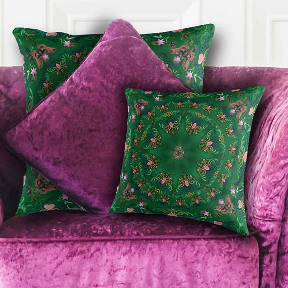 Designer Pillow. Mandala Butterfly Hearts Cottage Throw