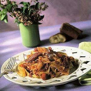 Pappardelle with Red Wine-Stewed Duck recipe. Use either a wild or pen-raised duck for this classic Tuscan preparation, which also works well with chicken, game hens or even rabbit. A crusty sourdough baguette, a tossed green salad and a full-bodied red wine are the ideal accompaniments.