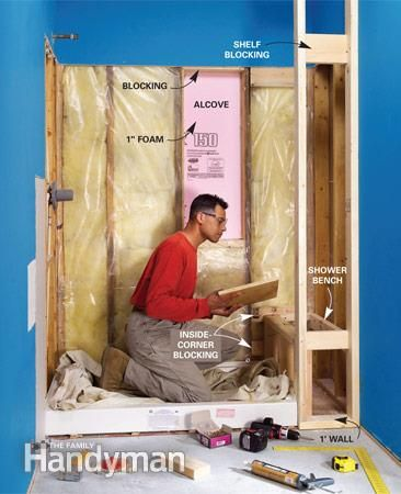 Tile a Shower: Framing Add blocking to the top and bottom of the alcove, shimming the sides as needed, and fill in the back with foam board. Frame the end wall and then the bench. Read more: http://www.familyhandyman.com/tiling/tile-installation/tile-a-shower/view-all
