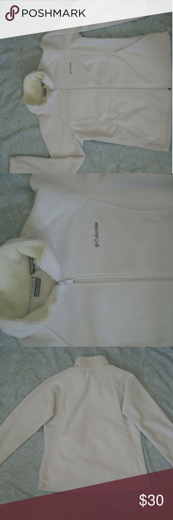 Columbia Omni-heat Thermal Comfort zip up jacket White Columbia thermal jacket. Lining is silver. Collar is a faux type material. There is a small, almost unnoticeable mark on the front left pocket (see last picture). Columbia Jackets & Coats