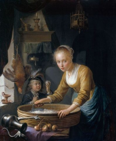 Gerrit Dou (Leiden 1613-Leiden 1675) - A Girl chopping Onions- Royal Collection