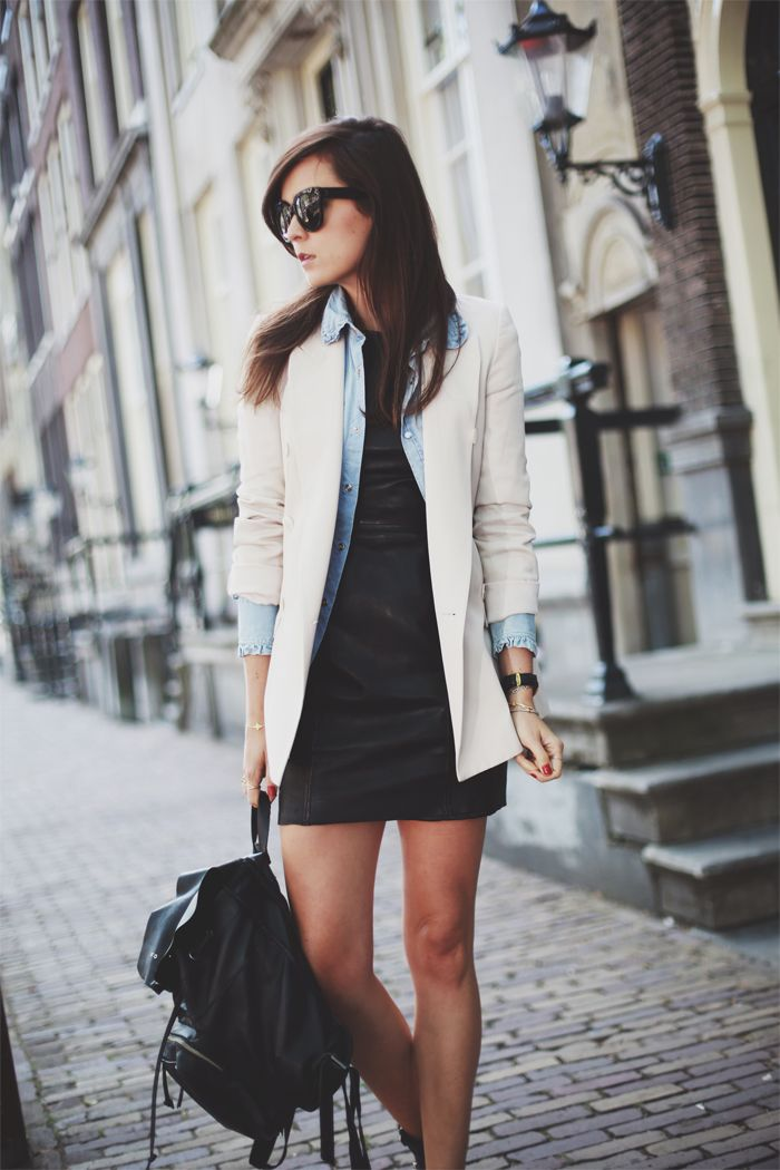 Black leather dress. Denim skirt. Cream blazer.