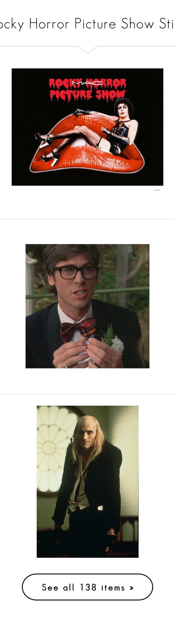 """""""Rocky Horror Picture Show Stills"""" by blood-red-queen ❤ liked on Polyvore featuring men's fashion, costumes, rocky horror costumes, rocky horror picture show costumes, rocky horror halloween costumes, rocky horror picture show halloween costumes, home, kitchen & dining, rocky horror and people"""
