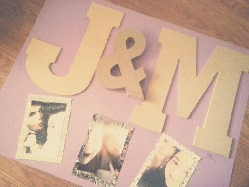 """DIY cute poster for couples & boyfriend/girlfriend. Total cost: $13 @ Hobby Lobby....1. Poster board...2. $.60 cent scrapbook paper...3. Large/jumbo unfinished wooden letters (thin)....4. 3D """"&"""" sign....5. Super glue for letters (be careful!!!) Totally cheap and a great idea for wall art, anniversary/birthday/Valentine's gift etc!!!"""