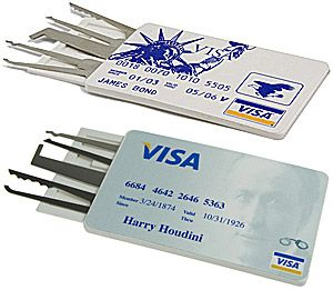 $29. CREDIT CARD LOCK-PICK SET, HOUDINI VERSION