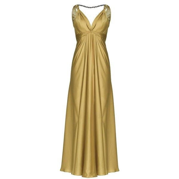 Aftershock Winky gold deep neck maxi dress found on Polyvore