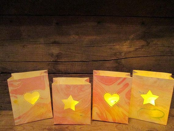 4 Mini Marbled Paper Luminaries Paper Lanterns by Oldendesigns, $28.00