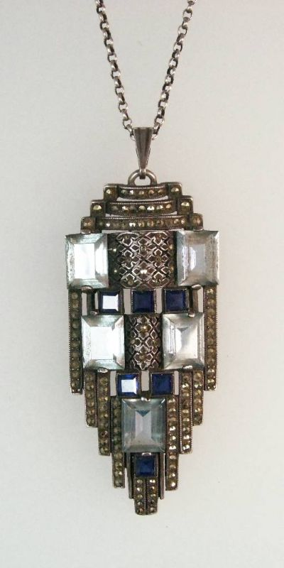 Pendant, Pforzheim approx. 1930, silver 835, influence of FARHNER, glass stones, marcasites, with chain, l. approx. 56 cm