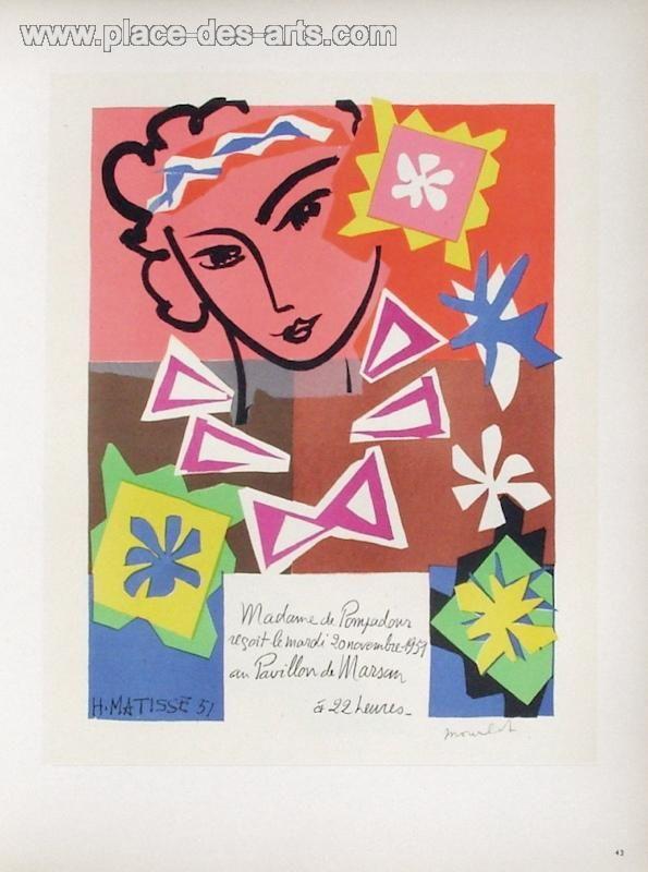 AF 1951 - Bal de l'Ecole des Arts Décoratifs, Lithographie, du peintre, HENRI, MATISSE, Signée dans la planche