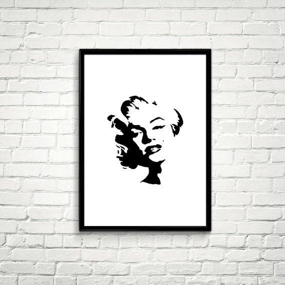 Black and White Marilyn Monroe Printable File от Artvintagedecor