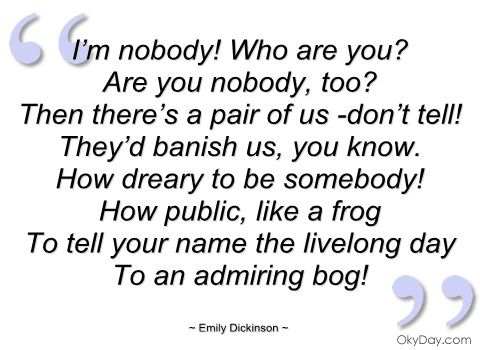 i'm nobody! who are you emily dickinson
