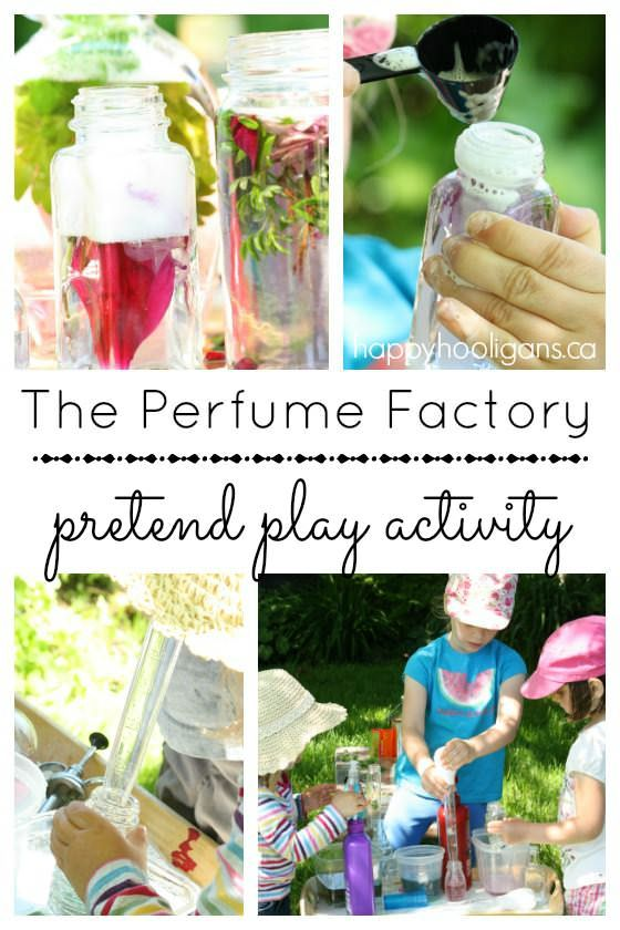 Pretend Play Perfume Factory - great outdoor, summer activity for toddlers and preschoolers.  So much fun, and lots of skill-development too: fine-motor, scissor skills, co-ordination, creative and critical thinking, PLUS, it's an awesome water activity for a warm day.  My guys played for hours with this simple set up.  Happy Hooligans