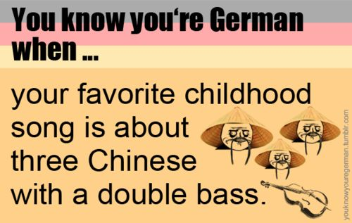 """3 Chinesen mit dem Kontrabass saßen auf der Straße und erzählten sich was. Da kam die Polizei, """"Ja, was ist denn das?"""" 3 Chinesen mit dem Kontrabass.  ....Drü Chünüsen müt dem Küntrübüs süßen üf der Strüße und erzühlten süch wüs....  loool :D :D"""