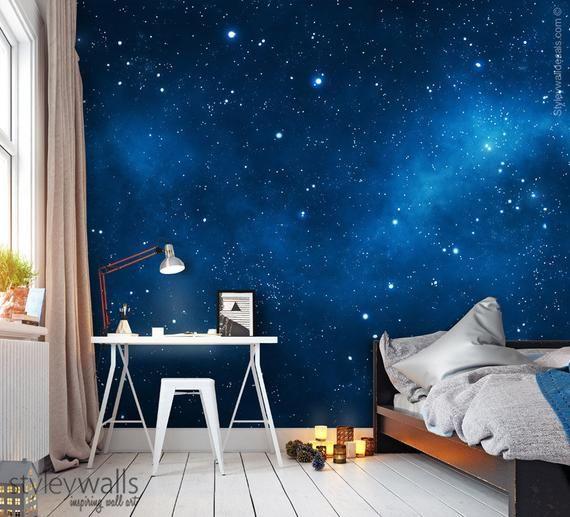 Space Mural Space Wallpaper Galaxy Mural Galaxy Wall Art Etsy Bedroom Wallpaper Galaxy Kids Bedroom Wallpaper Room Decor