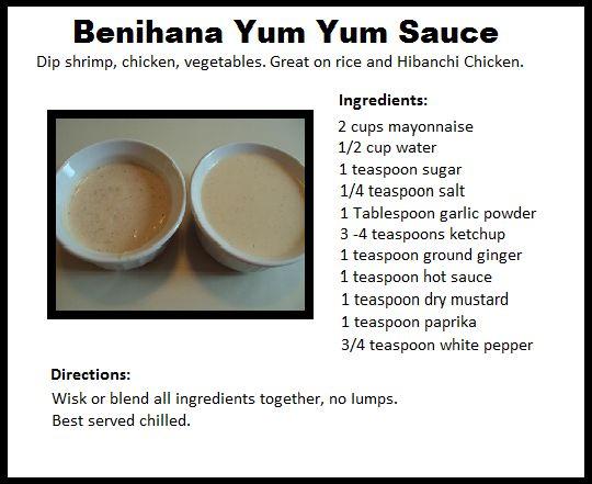 Benihana Yum Yum Sauce for the next time I make fried rice!