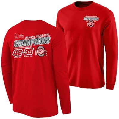 Ohio State Buckeyes 2015 Sugar Bowl Champions Quick Score Long Sleeve T-Shirt - Scarlet
