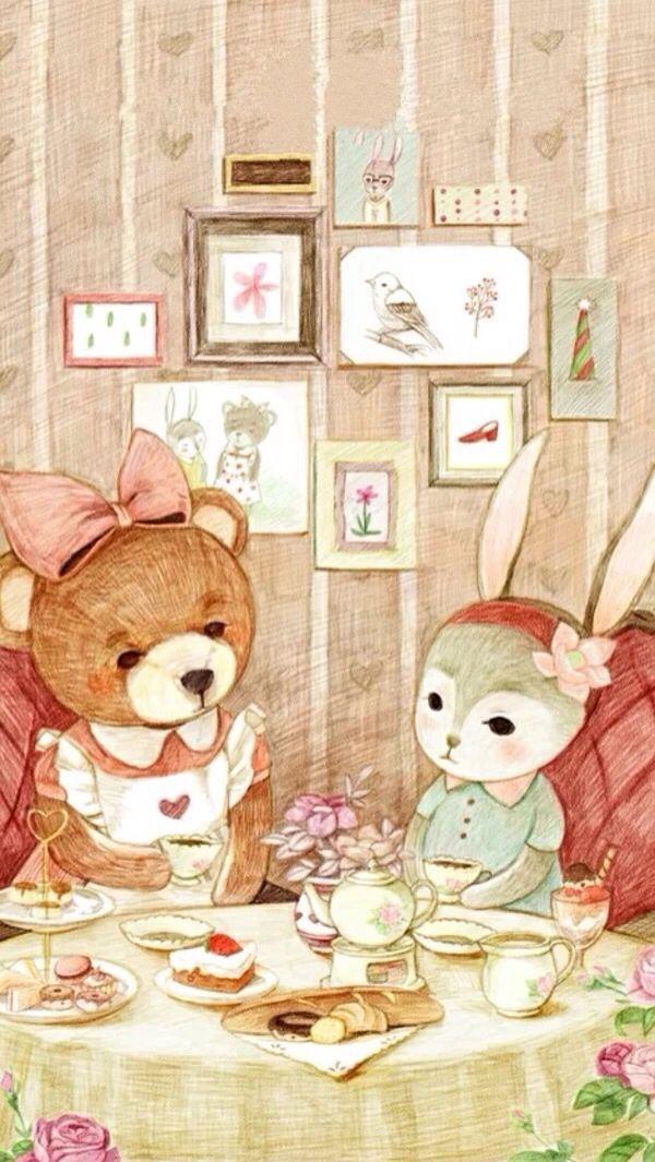 Teddy Bear & Rabbit Wallpaper (med bilder)