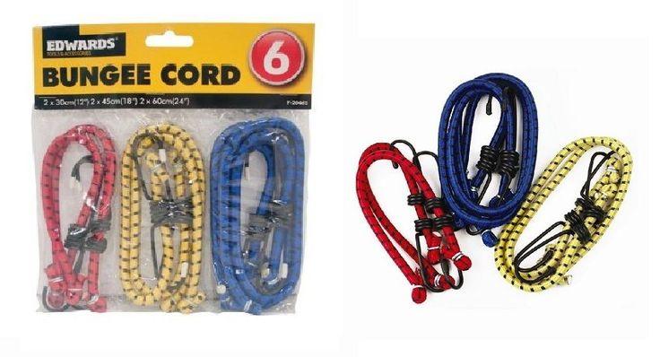 6 X Elastic Bungee Straps Cord Rope Set Hooks Car Bike Rack Bins Luggage Travel #Edwards