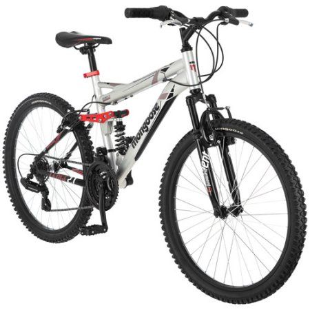 24 inch Mongoose Ledge 2.1 Boys' Mountain Bike, Silver/Red