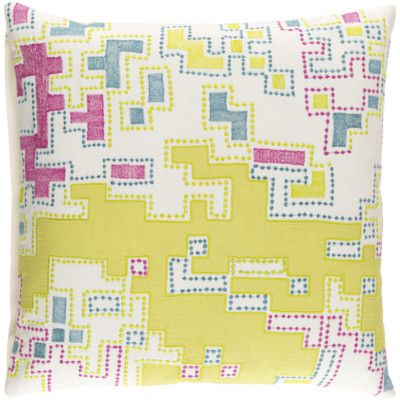 """Latitude Run Wallace Cotton Throw Pillow Size: 18"""" H x 18"""" W x 4"""" D, Color: Lime / Magenta / Teal / Ivory"""