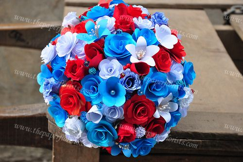 Paper Flower bouquet Red/White and Blue mixed flowers- By www.thepaperflorists.com