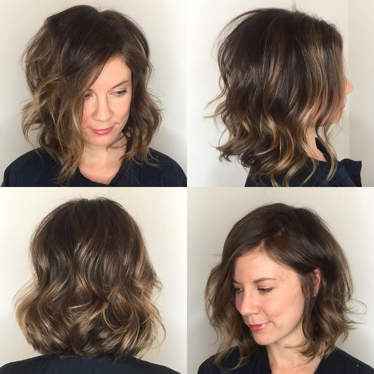 This Angled Soft Layer Lob with Undone Wavy Texture and Subtle Brunette Balayage is a great cut for someone seeking chic, trendy style. This angled, shoulder length bob can be styled sleek and straight, with textured waves or curls, or with a simple blowout for body and movement. It is also long enough to create updos and braids. The balayage highlights add definition and a sexy original look to this timeless style. Styling tips for this long bob and other similar medium leng