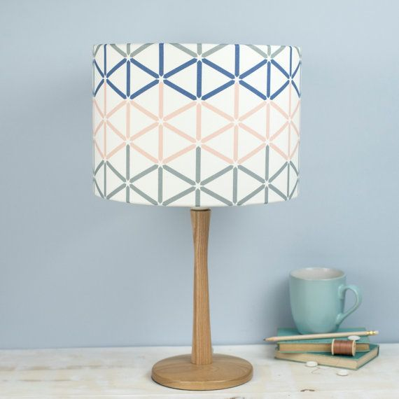 White Lighting Background Kenza Lampshade Grey Pink And Blue Geometric Pattern Design On A White Background Pendant Ceiling Ligh White Lamp Shade Lamp Shades Lighting