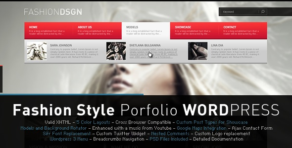 Fashion Design (Portfolio & Blog WP Theme)