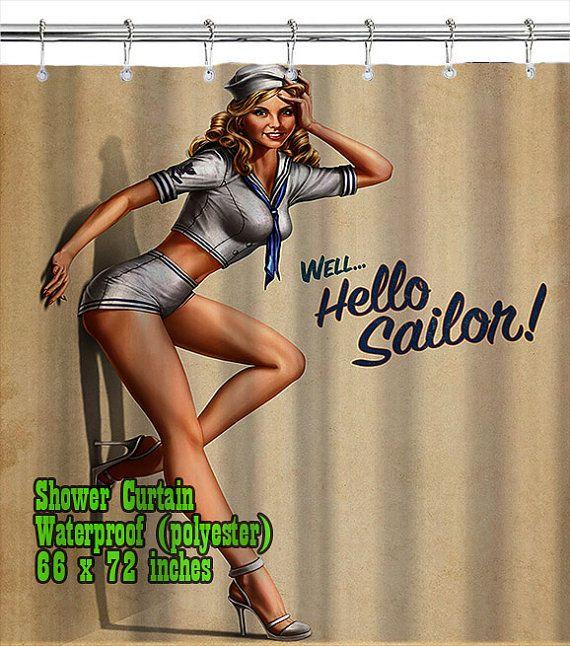 Retro Pin Up Girl 03 / Shower Curtain/ Custom Design/ by homeproo, $29 ...