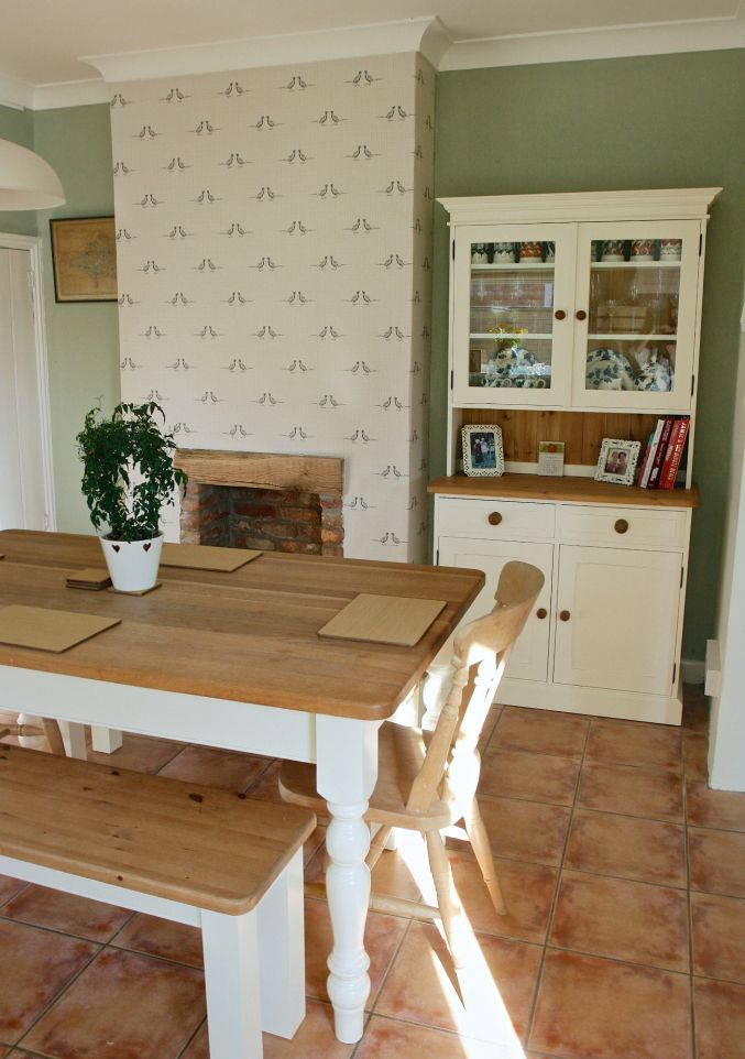 Country inspired dining room. Beam fire place. Cream country pine dresser. Farrow & Ball. Vert De Terre. James White. Pine Cream Table. Bences. Upcycled furniture.