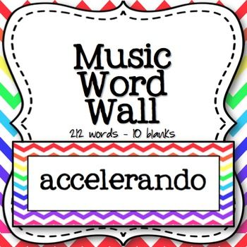 Music Word Wall (Rainbow Chevron)