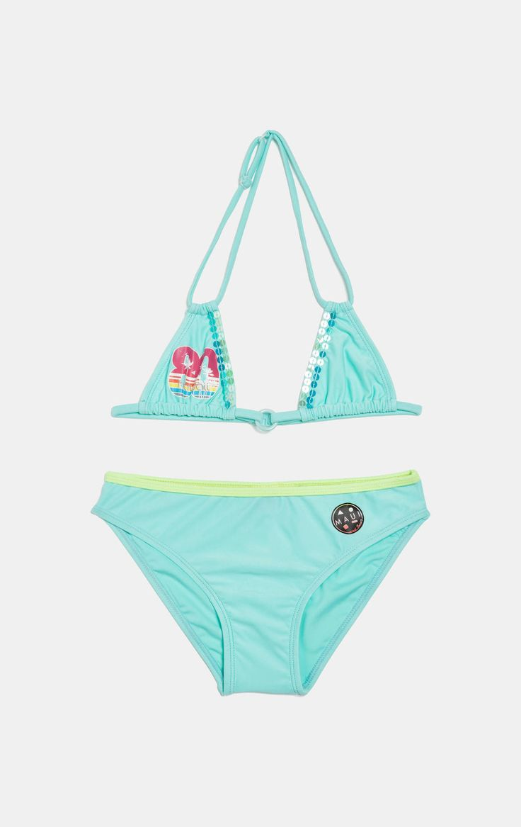 Bikini con paillettes by Maui and Sons, Azzurro acqua