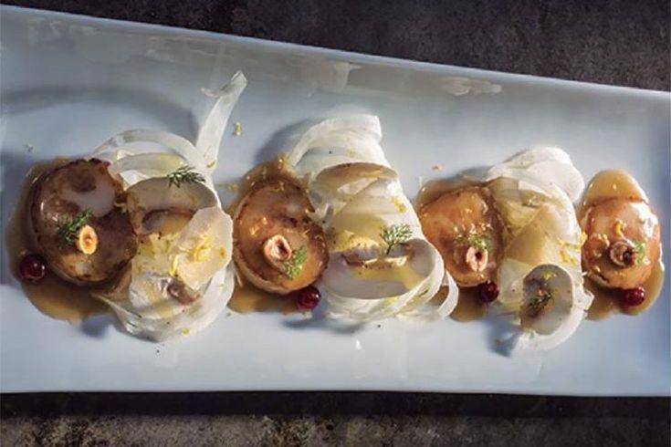 Vieiras a la Meunière con ensalada de hinojo, parmesano y champiñones