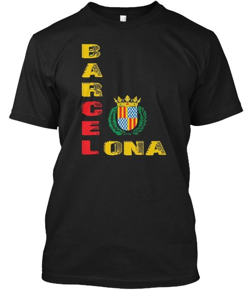 Barcelona T Shirt Spanish Spain Black T-Shirt Front