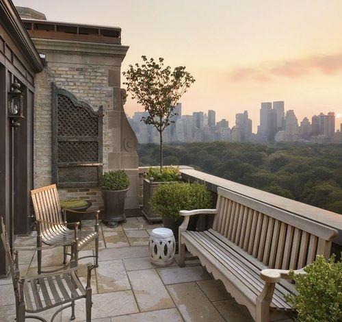 wooden patio bench,: Terrace, Dream, Apartment, Places, New York City, Outdoor Spaces, Central Park, Garden, Newyork