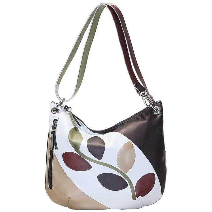 Borsa in pelle dipinta a mano. Tutte le borse della linea Acquerello possono essere acquistate in coordinato con i portafogli. Colore beige verde nero e marrone e motivo ramo.