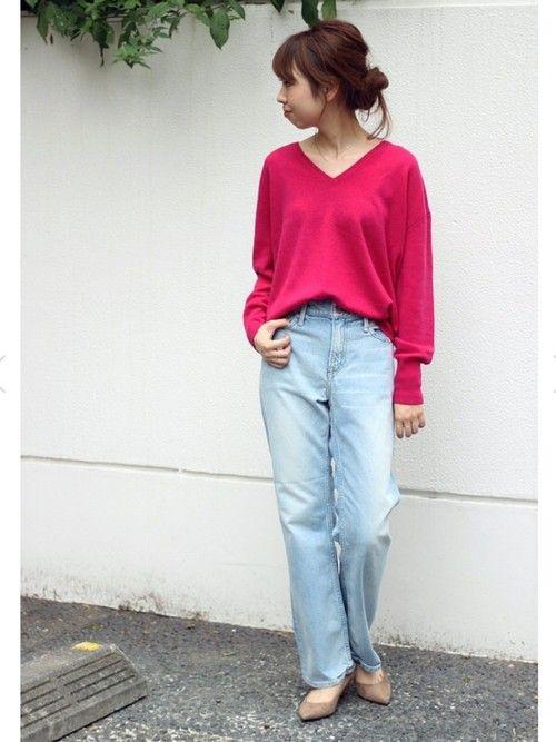 ピンクニット コーディネート pink knit tops sweater outfit style coordinate