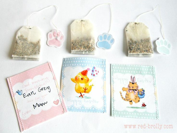 Free Printable Easter tea bags and wrappers from Red Brolly