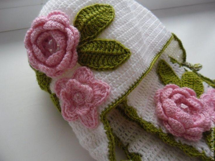 Купить Шапка и шарфик детские - белый, комплект, Вязаный комплект, комплект крючком, шапка детская