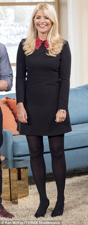Holly Willoughby in a seriously chic ornate collar dress on This Morning | Daily Mail Online