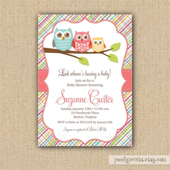 Owl Baby Shower Invitations for Baby Girl